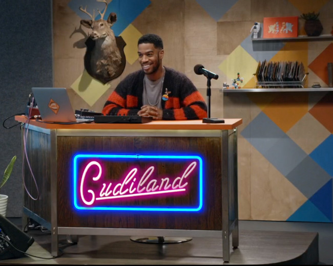Kid Cudi showing off the new bandleader area.