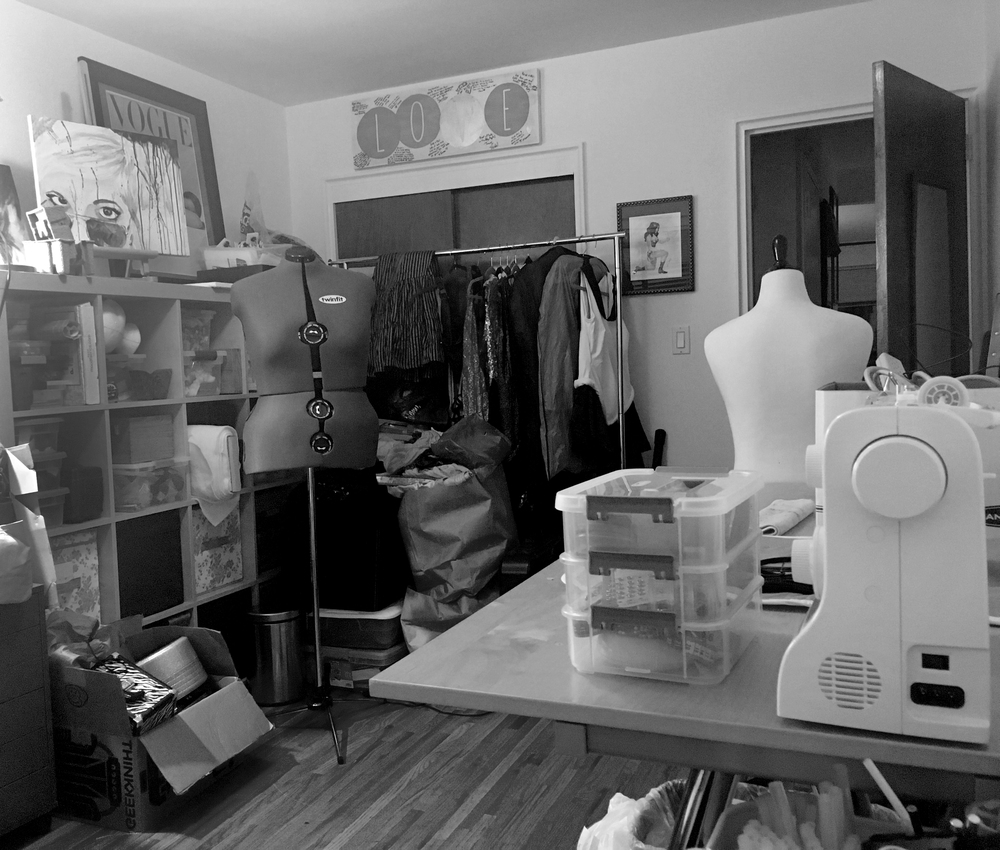 The sewing studio, a work in progress.
