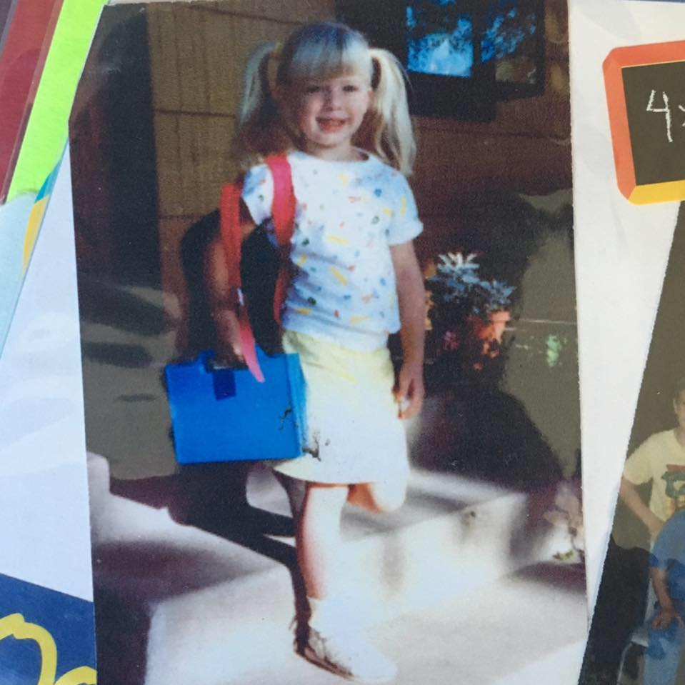 My actual first day of preschool in 1988. I had not yet mastered the backpack. I had, however, mastered pigtails.