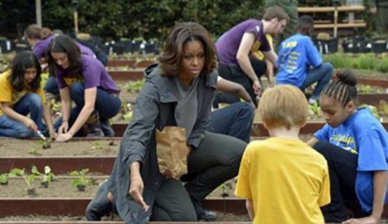 First Lady Michelle Obama Welcoming Students to the White House Kitchen Garden AP Photo/Susan Walsh