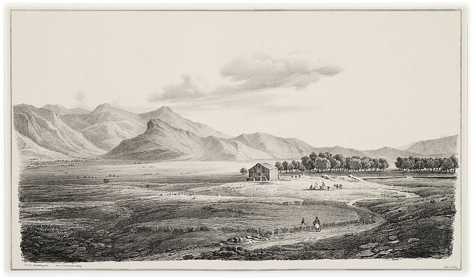 Otto Magnus von Stackelberg, Eleusian Fields on the Rharian Plain (Lithograph on paper, 9 ½ x 13 ⅗ inches), La Grèce: Vues pittoresques et topographiques (Paris, 1834)