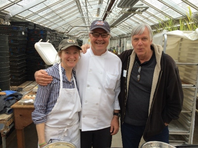 Pancake Time with Amy, Andrew Ross, and Glenn;   Oregon State University Barley Day, Corvallis (2016)