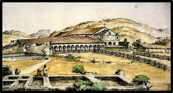 "Colored lithograph after Edward Vischer, ""Mission San Antonio du Padua""; The Missions of Upper California (1872)"