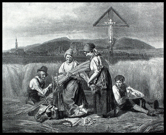 After Ferdinand Waldemüller, The Harvest (1847); Lithograph on paper, 7 ½ x 9 inches (1887); Palouse Regional Studies Collection
