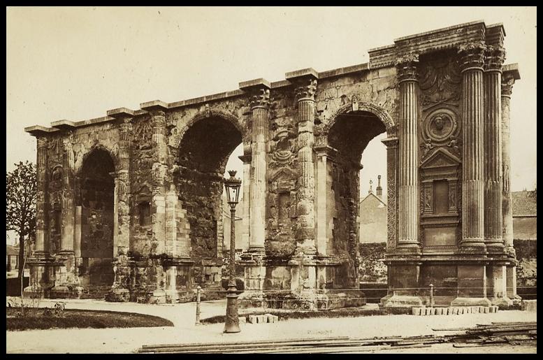 Porte de Mars (Mars Gate), Reims (c. 3rd Century AD);  Albumen print, 8 ¼ x 10 ⅗ inches (c. 1880);  Palouse Regional Studies Collection