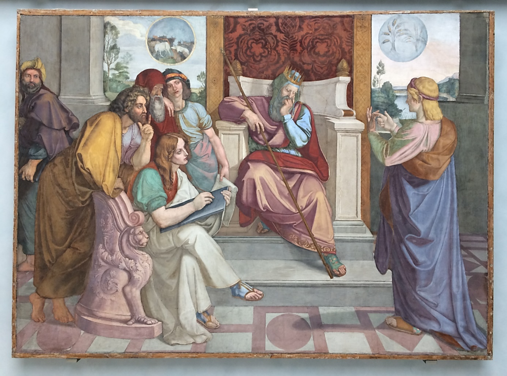 Casa Bartholdy Frescoes, Philipp Veit,  The Seven Years of Plenty  (1817), Peter von Cornelius,  Joseph Interprets Pharoah's Dream  (1817), Old National Gallery, Berlin
