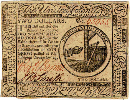 Franklin United Colonies Flail and Sheaf Two-Dollar Bill (1775);   Private Collection