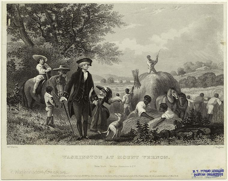 John McNevin, engraved by John Rogers, Washington at Mt. Vernon (1859); Steel engraving on paper, 7 x 10 ⅛ inches; New York Public Library