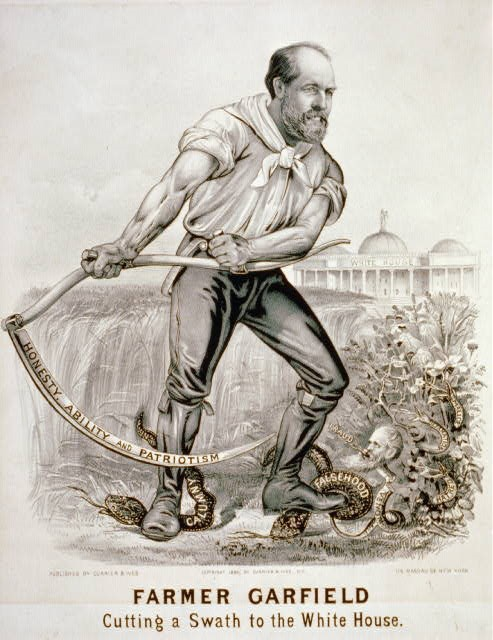 Currier & Ives, Farmer Garfield Cutting a Swath to the White House (1880); Lithograph, 13 x 10 ⅝ inches; Prints and Photographs Division, Library of Congress