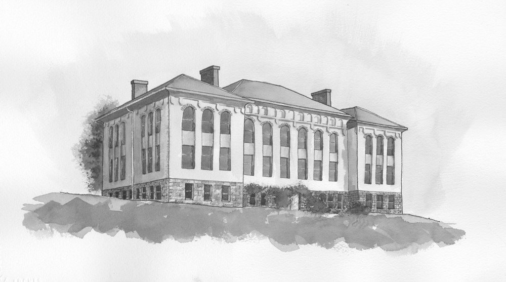 Morrill Hall, Washington State College, Pullman (1895), Named for Justin S. Morrill, Father of the 1862 Land Grant College Act, Drawing by Rob Smith (2012)