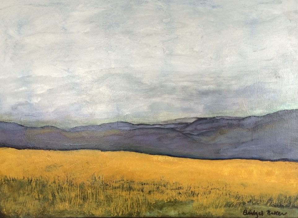 Bridget Baker,  Olympic Gold  (oil on canvas, wheat field near Sequim), Palouse Heritage Collection