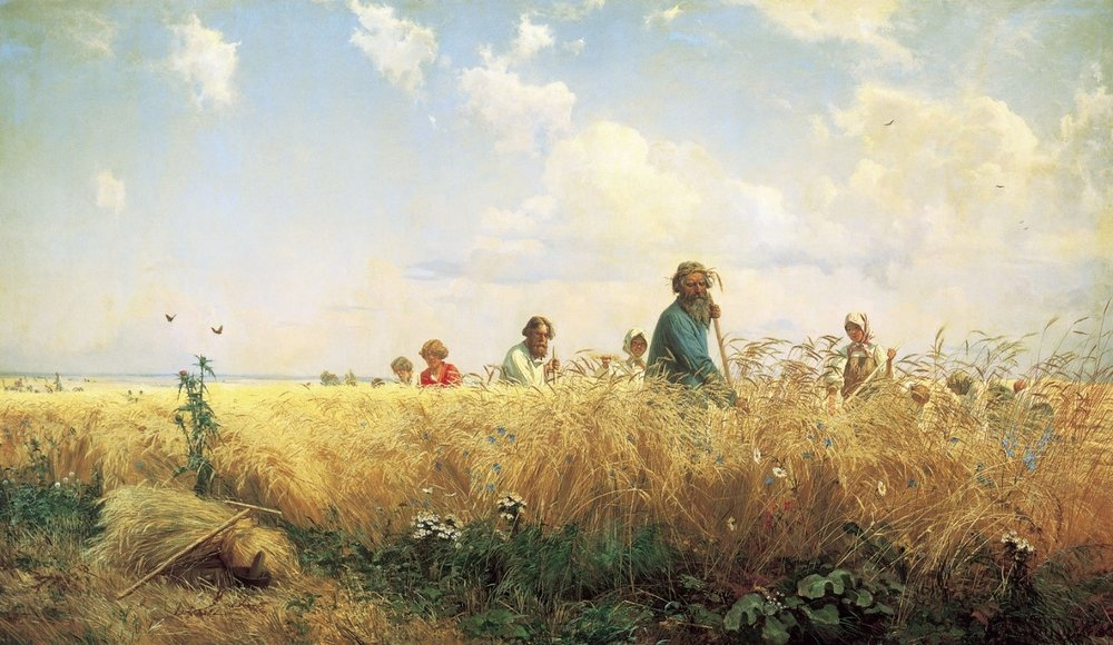 Grigoriy Myasoyedov,  Time of Toil—The Reapers  (1887), Oil on canvas, 70 ½ x 108 ¼ inches, State Russian Museum, St. Petersburg