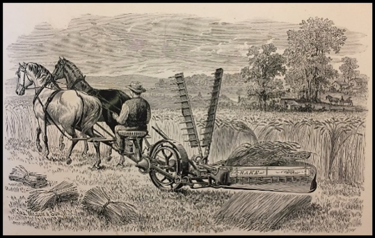 James Wilson & Son,  Art Designs in Harvesting Machinery  (1884); Steel engravings on paper, 8 ¾ x 12 ¾ inches