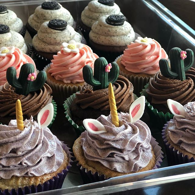 As part of our Traybake Sale weekend try the amazing cupcakes from Kandy Kane's we have bubblegum unicorn, Oreo and all new mint chocolate cactus!