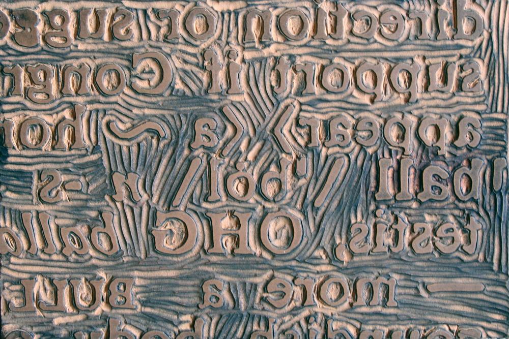 "Hand-carved linoleum on wood, 6""x9"" 2015"