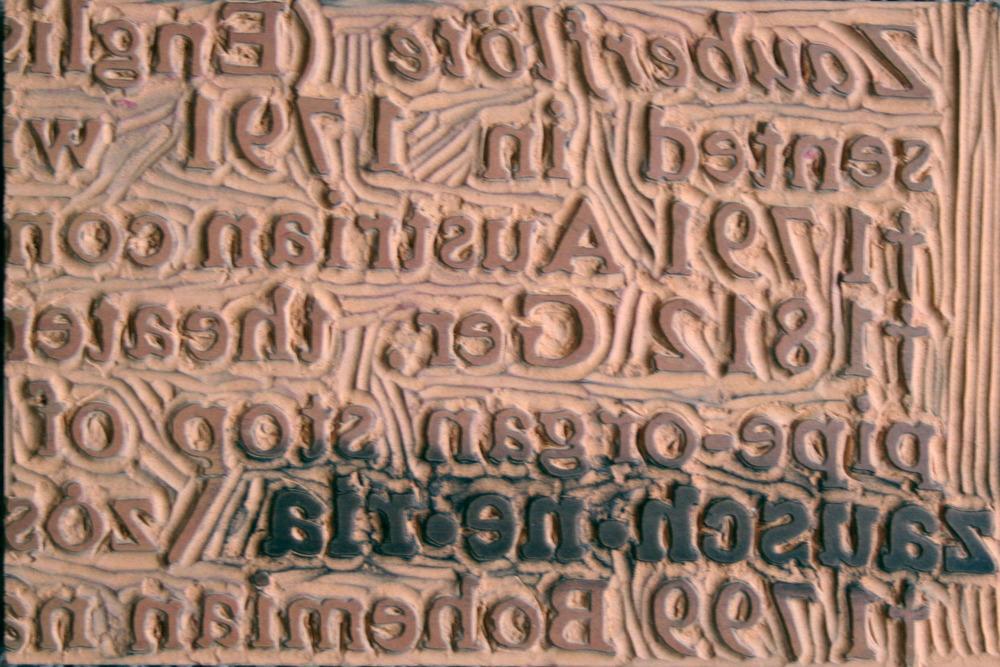 "Hand-carved linoleum on wood, 6""x9"" 015"