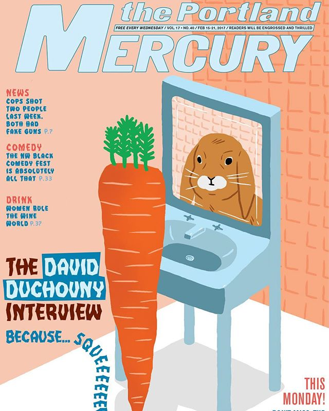 Check it out, this amazing artwork @alex_despain did for #69valentines is on the cover of The Mercury this week! Pick up a copy around Portland, and buy a print at buyolympia.com!