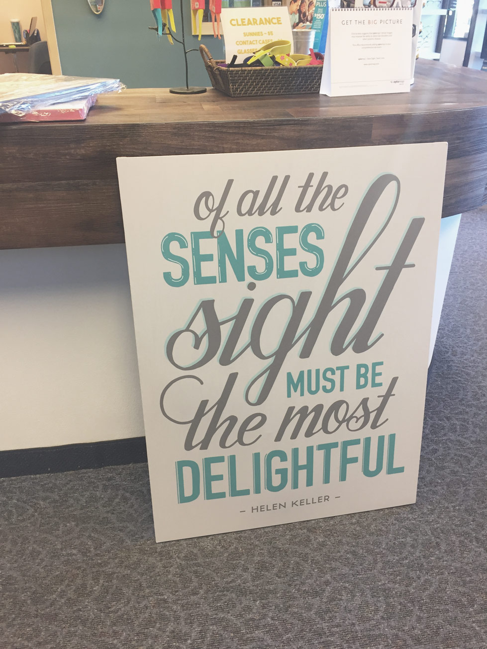 This custom hand-lettering commission is currently located in the lobby at Franklin Park Vision in North Spokane. // office art, custom calligraphy art and commissions, art inspiration, modern calligraphy art