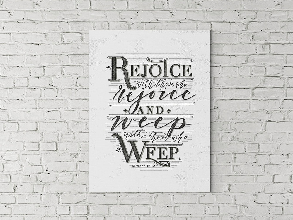 This piece is one of two client commissioned pieces—matching, for the same room, but one with more masculine features and the other with some more feminine calligraphy. I loved this project; it was a unique challenge. // custom calligraphy art, hand-lettered art, calligraphy canvases, Scripture art