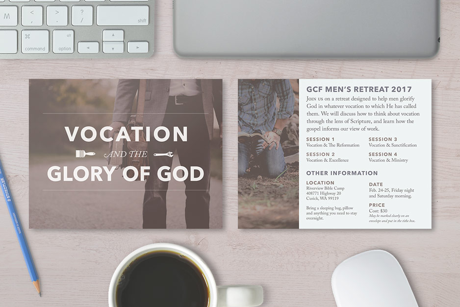 Church fliers and event invitations, Christian men's retreat and advertisement, graphic design postcard, Christian church