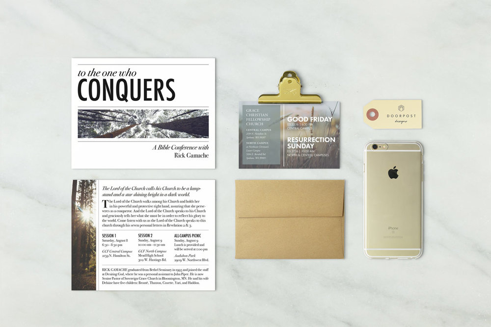 Church fliers and event invitations, Bible conference flier and advertisement, graphic design postcard, Christian church