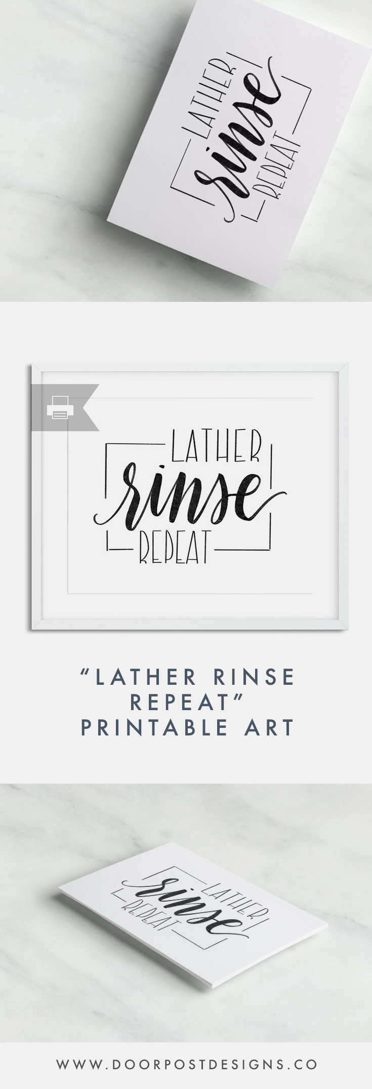 """Lather, Rinse, Repeat!"" Bathroom Decor 