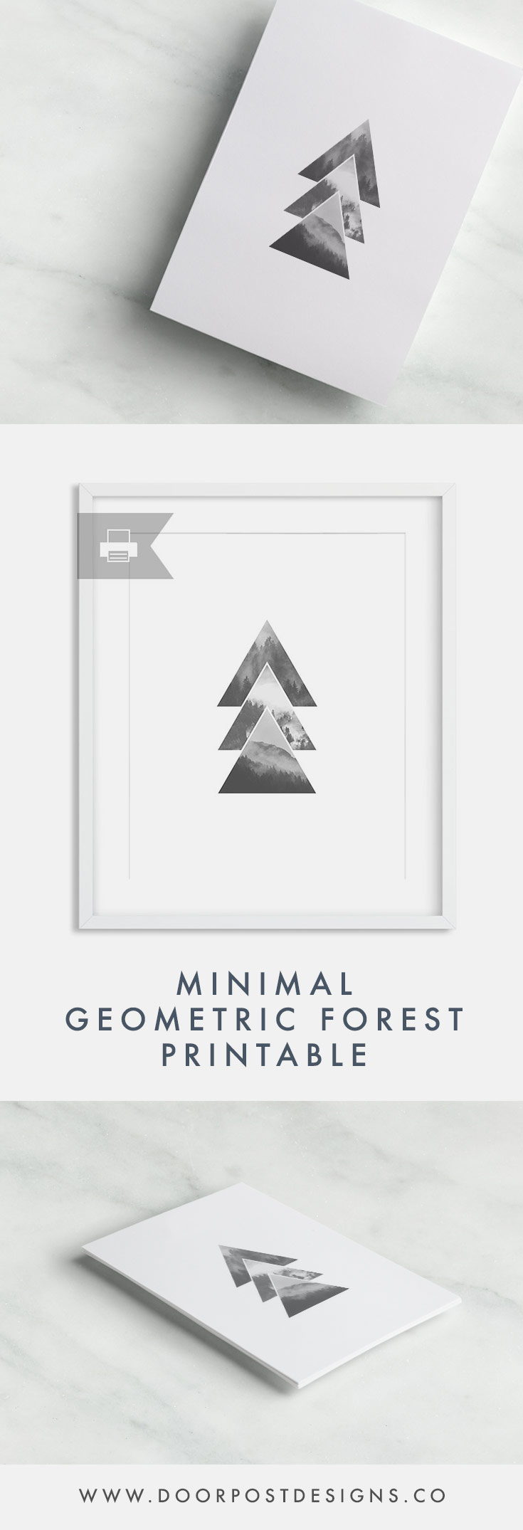 Minimal Geometric Forest Printable | Decorate from the comfort of your own home! The digital file will be sent to your email inbox upon purchase; you will receive a high-resolution JPG and a PDF for printing on your own.
