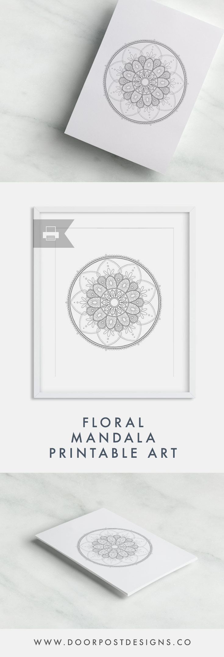 Hand-Drawn Floral Mandala Printable | Decorate from the comfort of your own home! The digital file will be sent to your email inbox upon purchase; you will receive a high-resolution JPG and a PDF for printing on your own.
