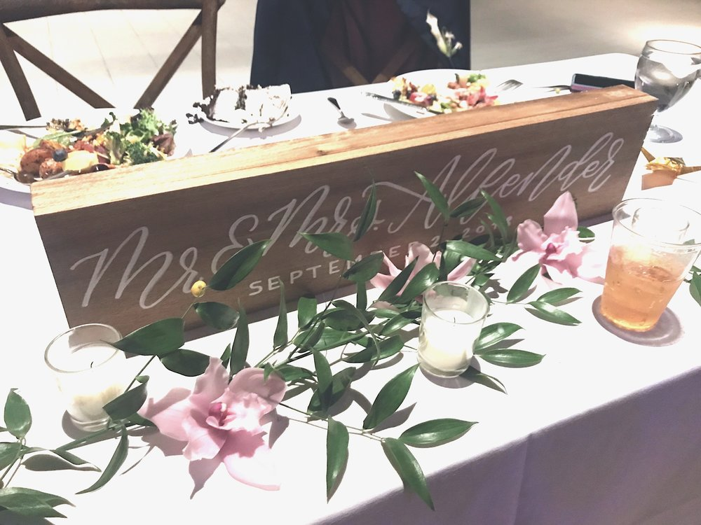 hand-painted head table sign