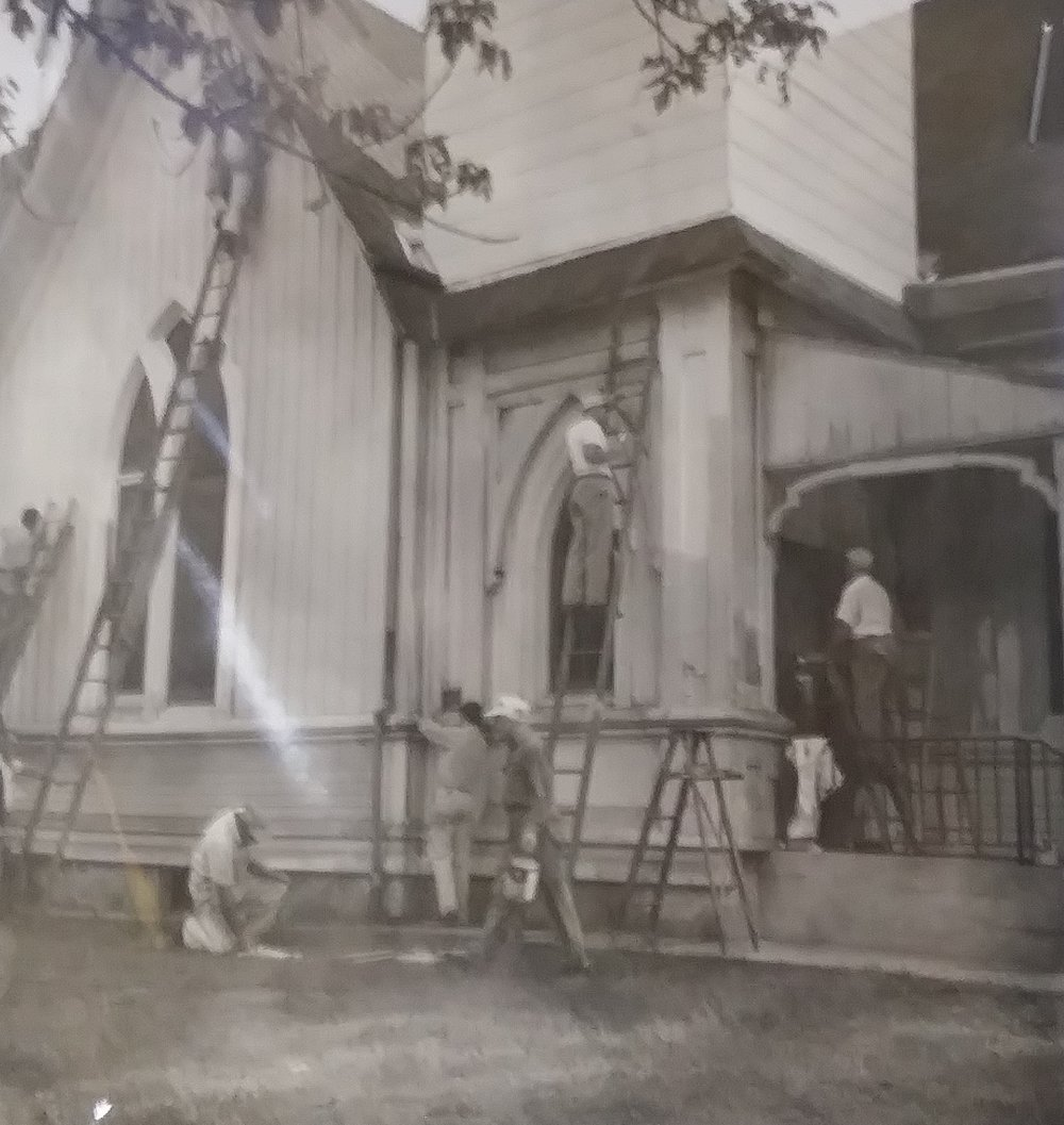 Repair work on the Original Grace Church.
