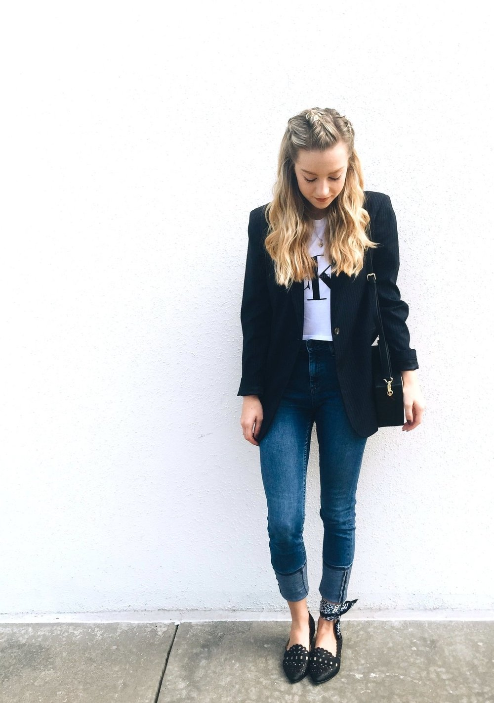 Top:  Calvin Klein  at Urban Outfitters, Blazer:  Baukjen , Jeans:  Topshop , Scarf: my mom, Shoes:  Restricted Shoes , Bag:  Dezzal