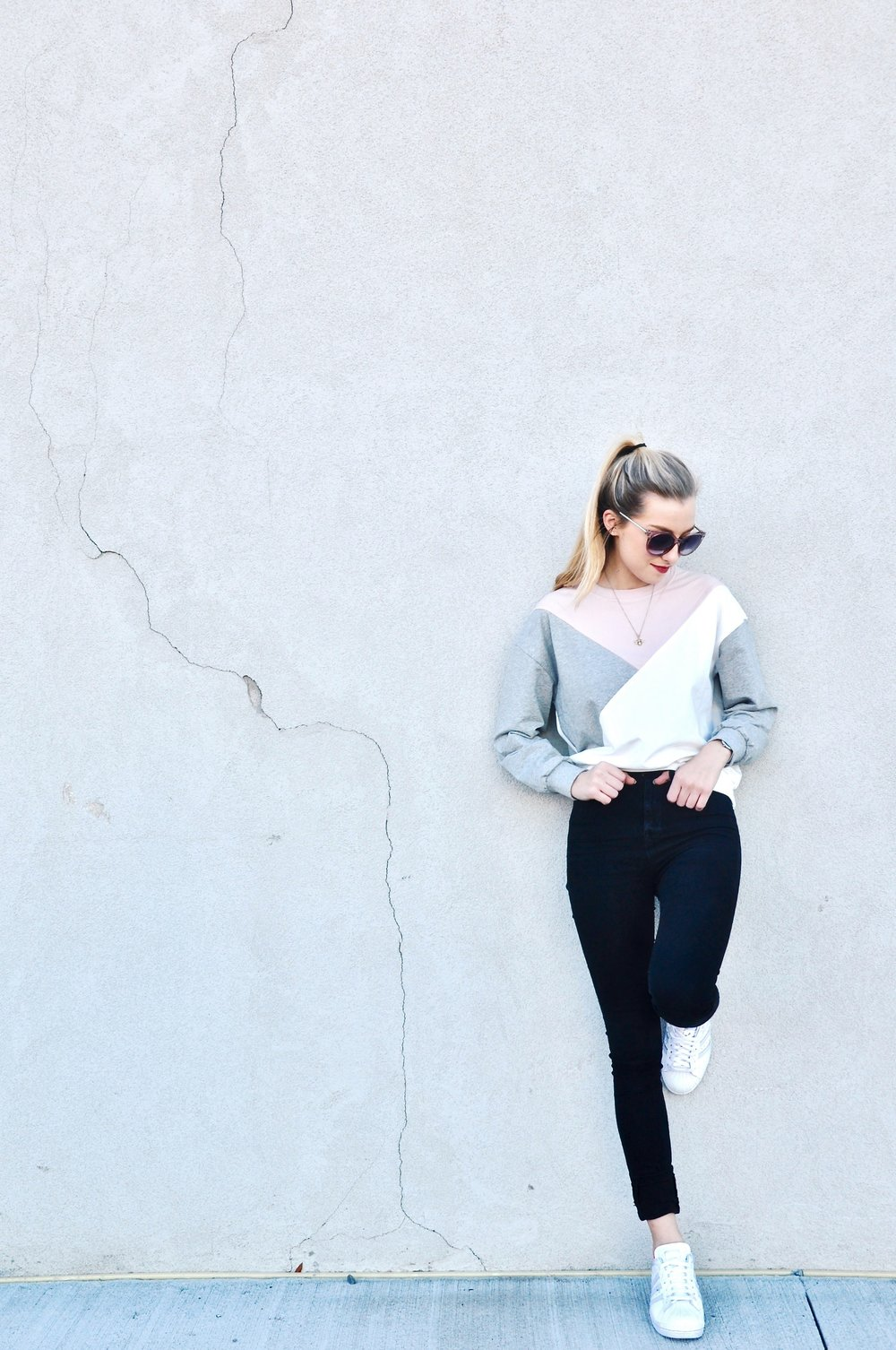 Sweatshirt:  Romwe , Watch: Mockberg, Sunglasses: Ann Taylor, Jeans: BDG Urban Outfitters, Shoes: Adidas Custom Superstars