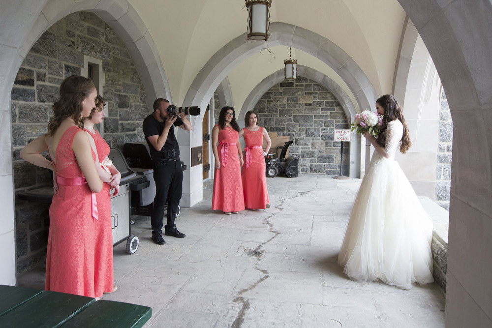 Photographing the bridal party at Chapel of the Most Holy Trinity (West Point), New York