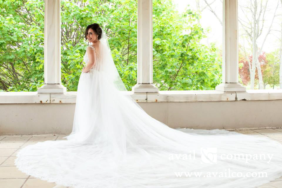 Custom wedding dresses by avail company tulle and lace ball gown with cathedral train custom designed wedding dresses junglespirit Images