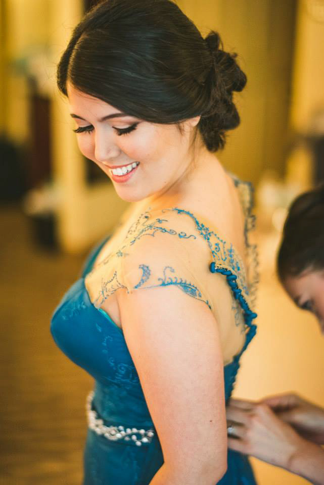 See Annie's incredible teal wedding dress with beautiful illusion embroidery.    Thanks to Annie and  Sam Hurd Photograph y for allowing us to share these images.
