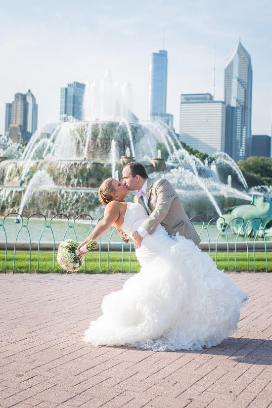 See Emily's beautiful soft ruffled gown and gorgeous Chicago wedding day.  Thanks to Emily and Dana Marquart of  Photogenics on Location  for allowing us to share these images.