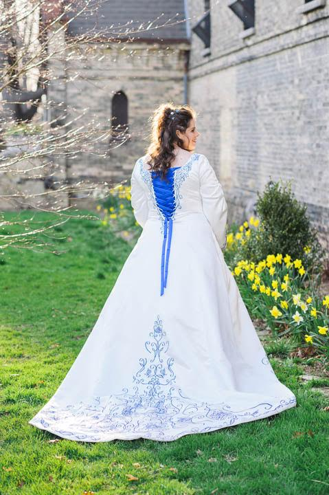 See Joey's stunning blue and white medieval inspired gown with custom embroidery.  Thanks to Joey and  h er photographer for allowing us to share these images.