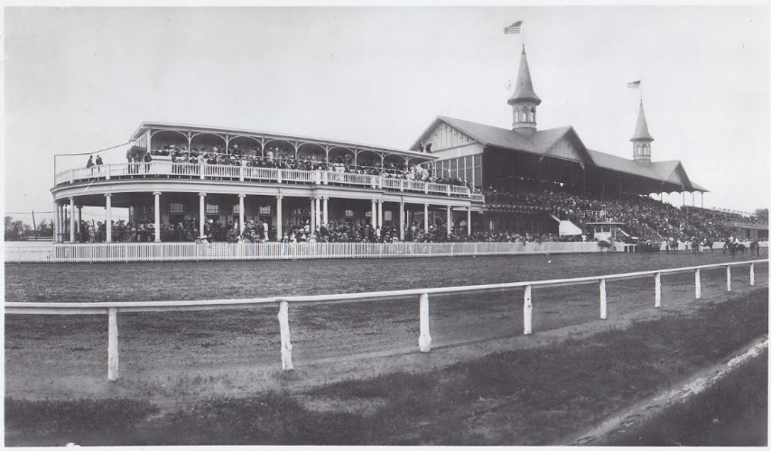 A historic photo of Churchill Downs depicts the grandstand and the famous Twin Spires. (Photo courtesy: Kentucky Derby Museum).