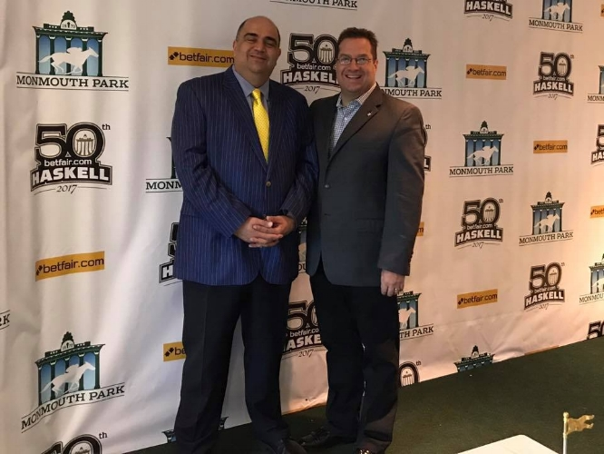 Councilman Joseph Irace, right, is pictured with Frank Mirahmadi, the voice of Monmouth Park. Located in Oceanport, NJ, Monmouth Park is located only a few miles away from the beaches of the Jersey Shore. The Haskell Invitational is the track's premier race with a purse of $1 million. (Photo credit: Joseph Irace)