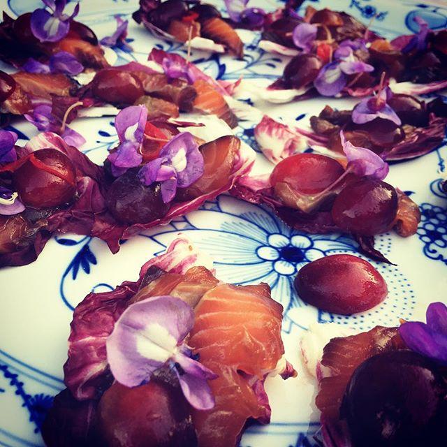 Soyamarinerad lax m. plommonsalsa och blommor från trädgården! #semester #cottinosskafferi