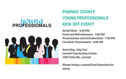 PCYP Kick Off Event   When: Saturday, July 21st, 2018 6:30 - 11:00 pm  |     Where: Larned Community Center, 1500 Toles, Larned   |     What: Social Hour | Food & Refreshments | Presentation | Corn Hole Tournament -