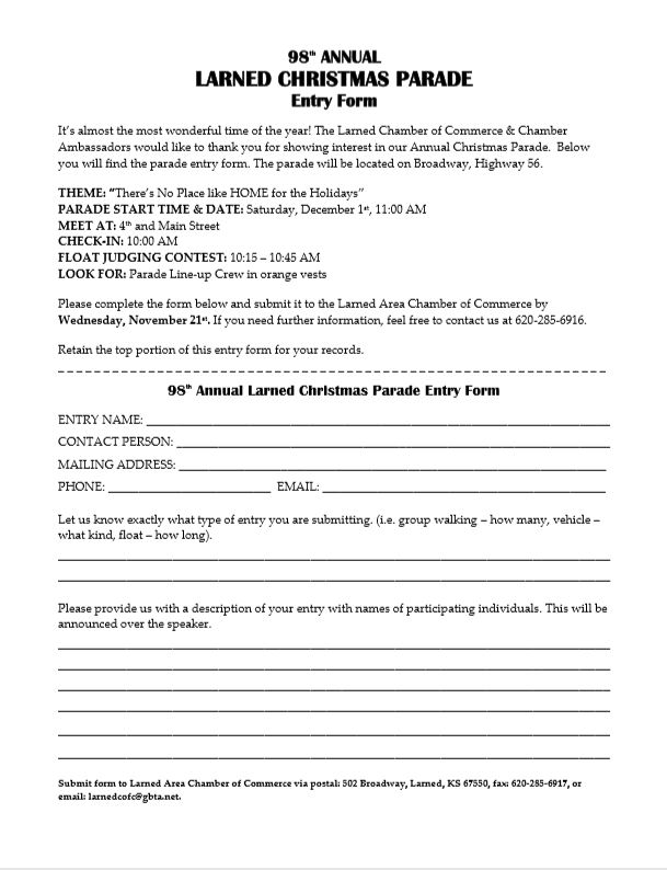 To download and print out the parade registration form,  click here .