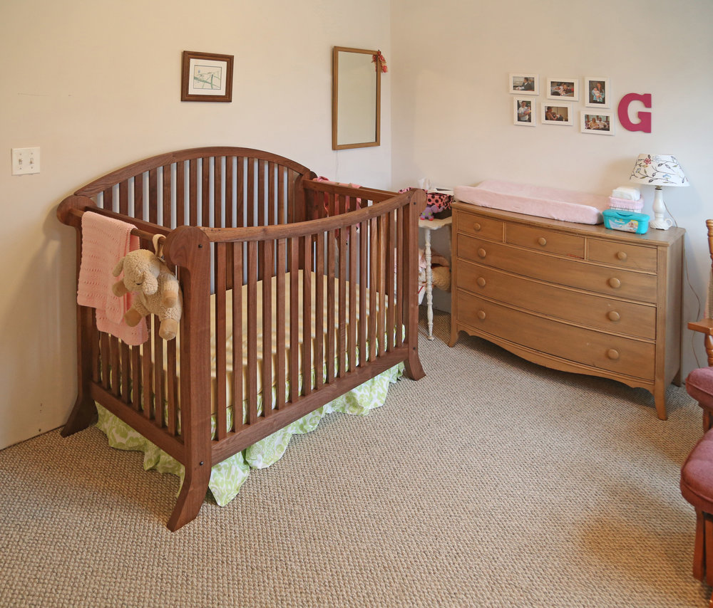 The finished crib in her nursery