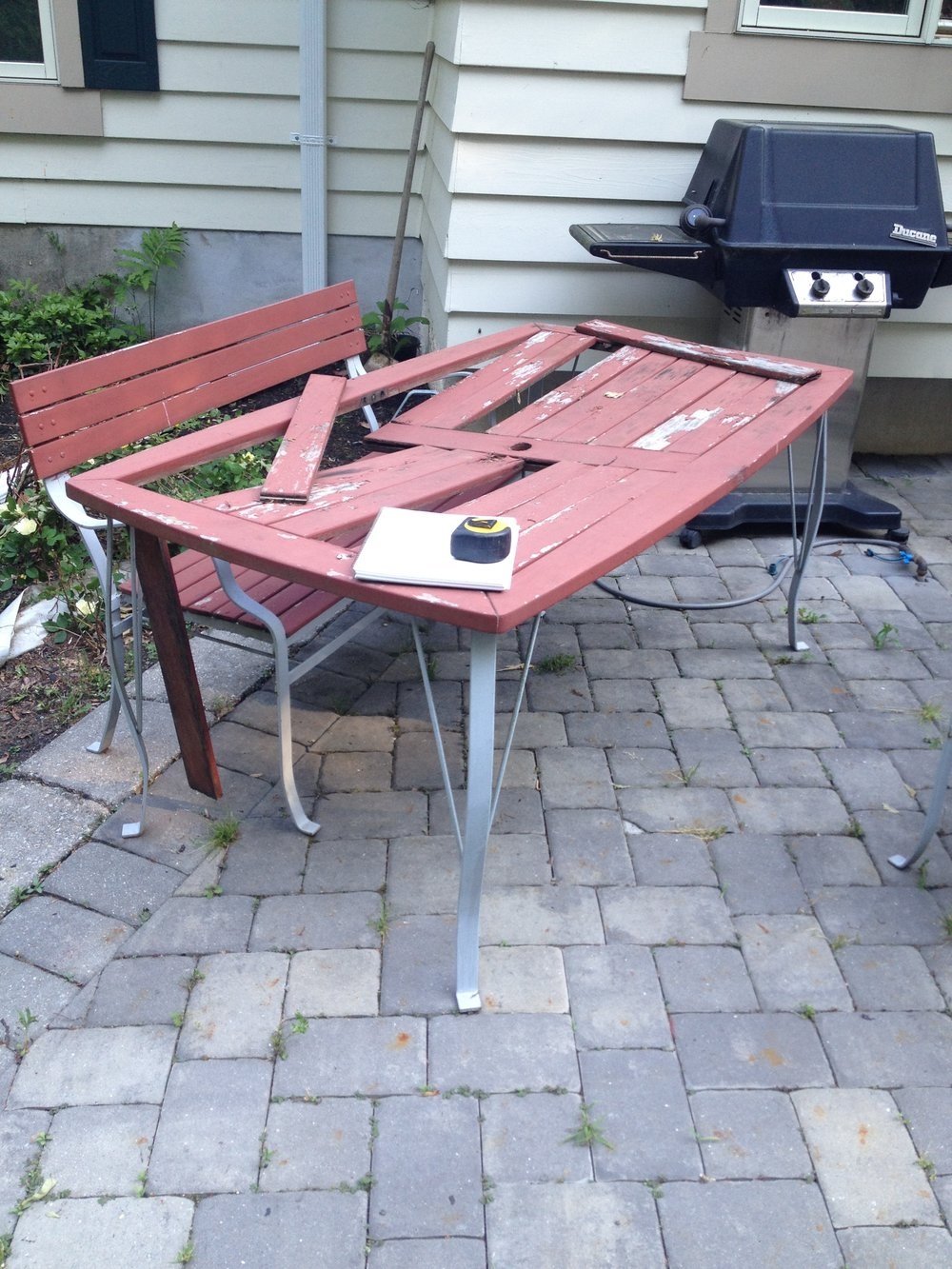The client's original table was falling apart due to rot. I suggested building a new top from Brazilian mahogany because of its ability to withstand the elements.