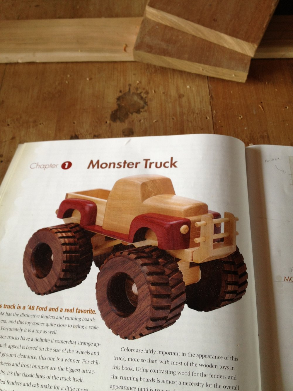 When my nephew came along I had already made a crib for his sister, so I decided to make a toy truck for him. I found this design in a book on toy building.