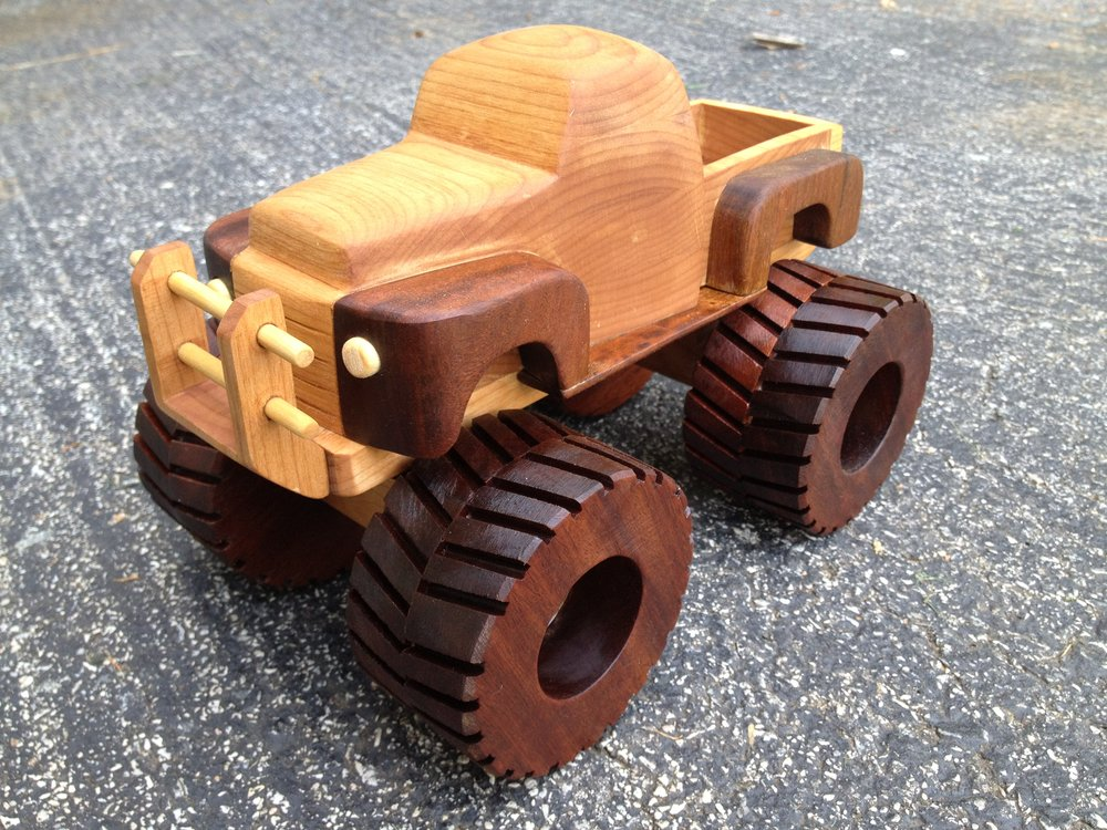 The completed truck, finished with several coats of boiled linseed oil. The wheels, like the wheel wells, are made of ipe.