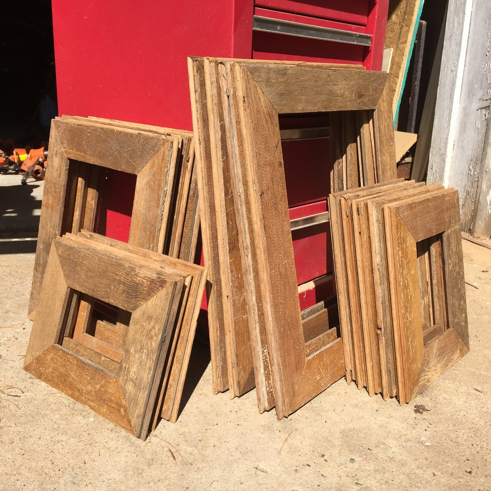 Picture frames I made from reclaimed flooring. I made four standard sizes: 3x5, 4x6, 8x11, and 11x14.