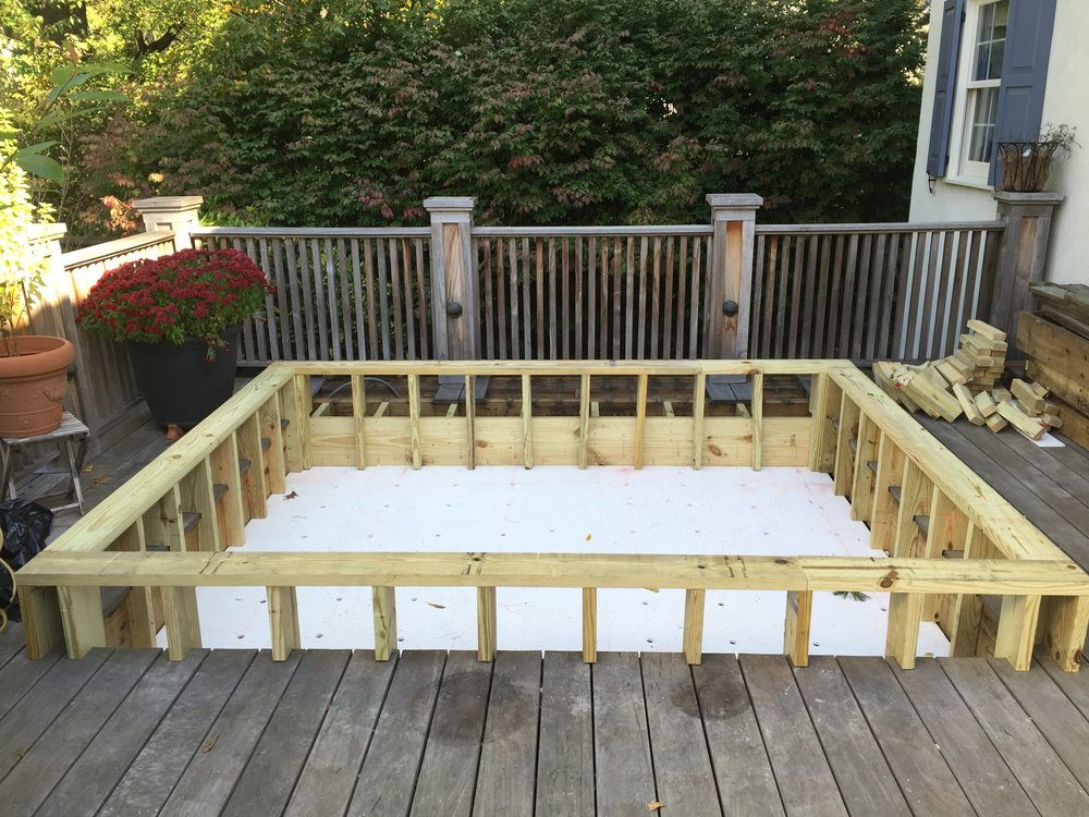 After removing the old hot tub and putting in some drainage lines, I framed up a new floor and side walls. I put down PVC sheets to line the bottom and then drilled holes through it to allow for water to flow through to the drainage lines.