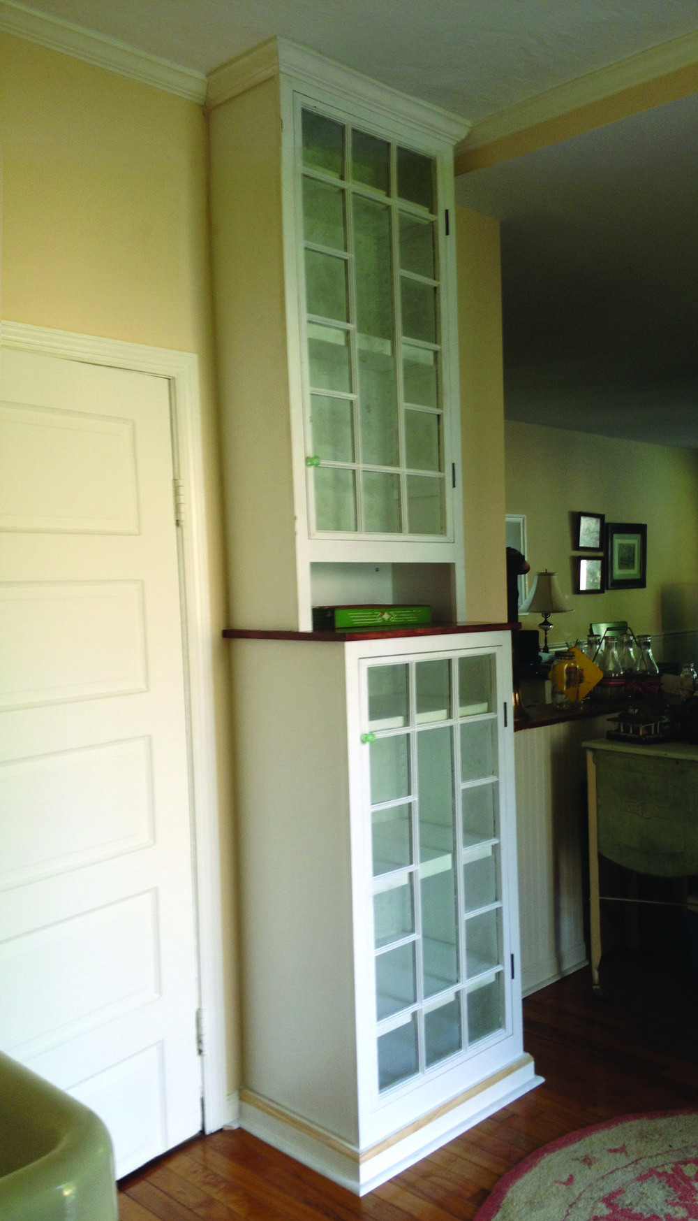 The finished cabinet installed in the client's home. She opted to do the finish painting herself, so these pictures only show the primed unit.