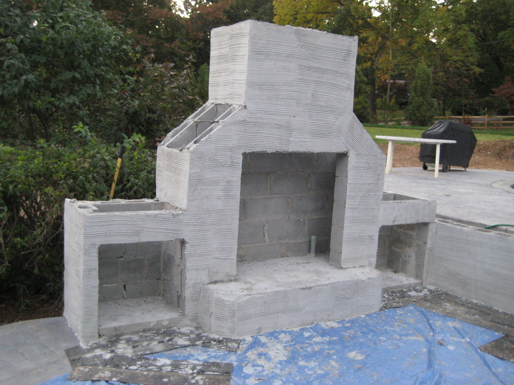 Blockwork completed for outdoor fireplace